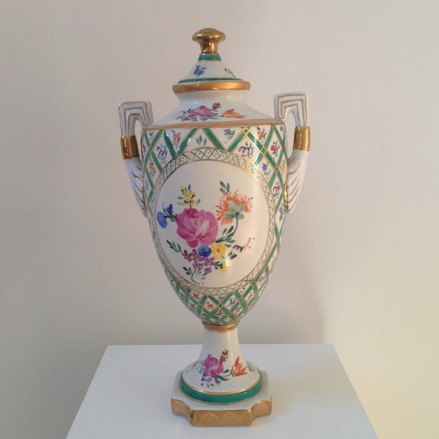 Floral Porcelain Urns - A Pair For Sale In Washington DC - Image 6 of 11