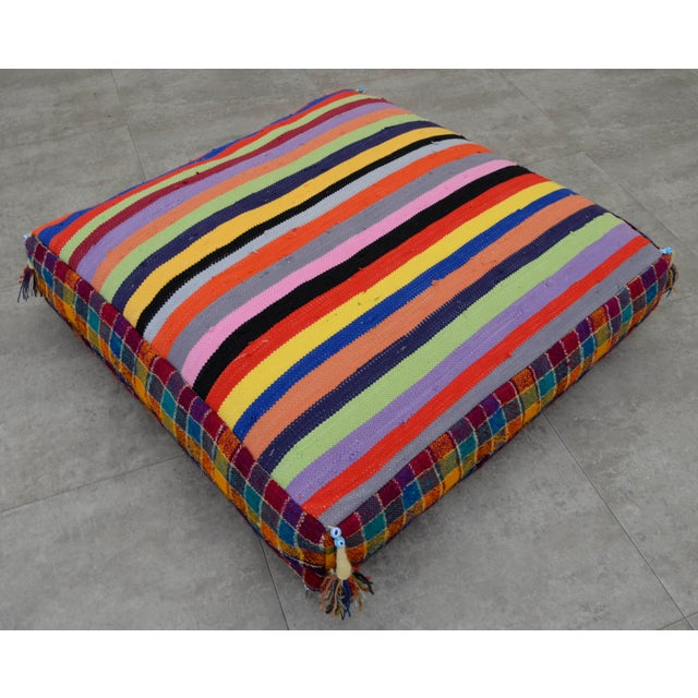 Turkish Hand Woven Kilim Floor Cushion - 30″ X 30″ - Image 3 of 10