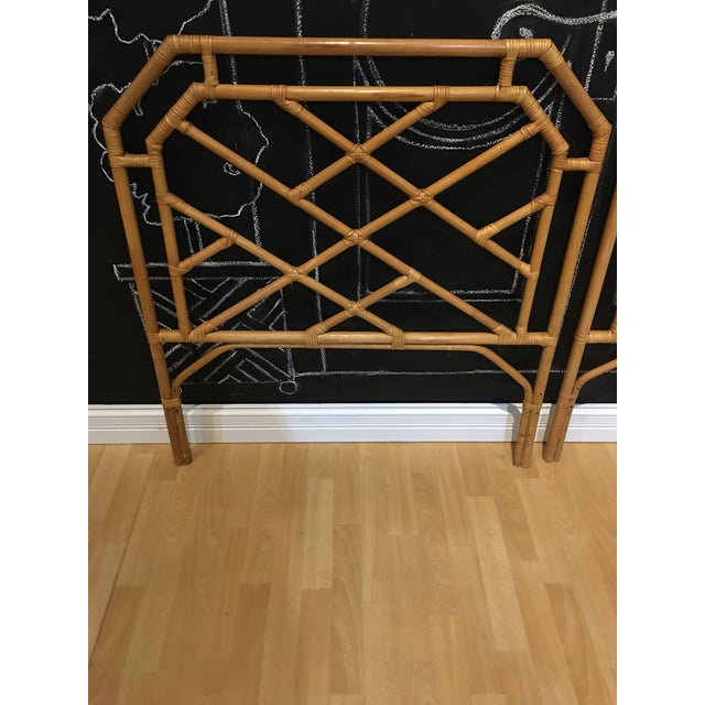 Chippendale Rattan Bamboo Headboards - a Pair For Sale - Image 4 of 5