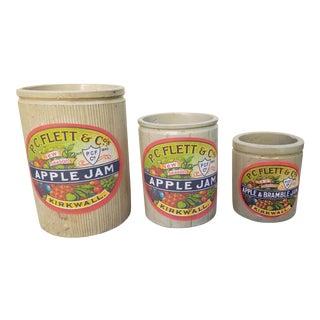 Victorian Stoneware Apple Jam Crocks - Set of 3 For Sale