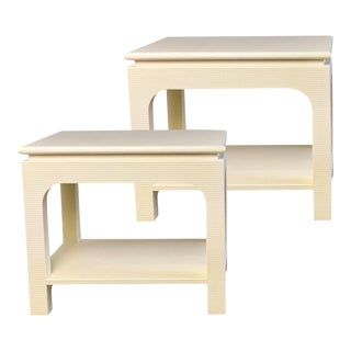 1980s Harrison Van Horn Lacquered Wrapped Side Tables – a Pair For Sale