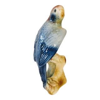 Blue Cockatiel Majolica Figurine For Sale