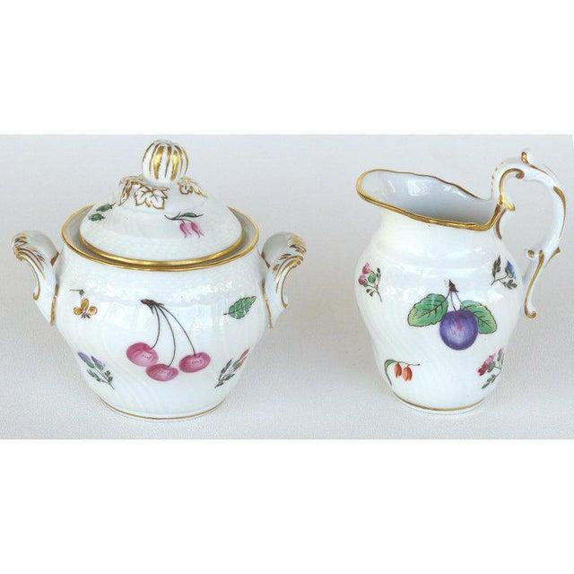 "Richard Ginori Richard Ginori (Italy) ""Perugia"" Lidded Sugar Bowl, Creamer, Cups and Saucers For Sale - Image 4 of 7"