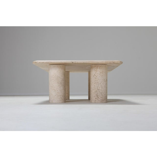 1970s Angelo Mangiarotti Travertine Coffee Table for Up & Up - 1970s For Sale - Image 5 of 11