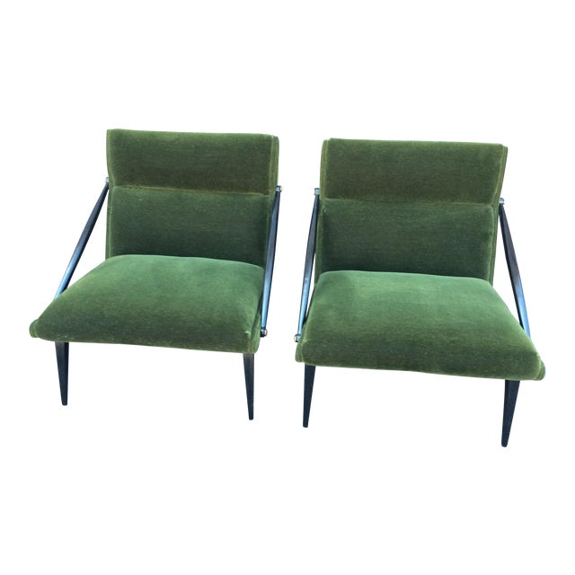 Mid-Century Mohair Side Chairs- A Pair For Sale