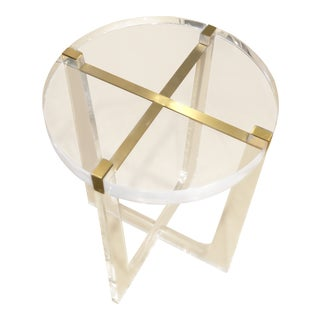 Modern Acrylic & Brass Round Side Table For Sale