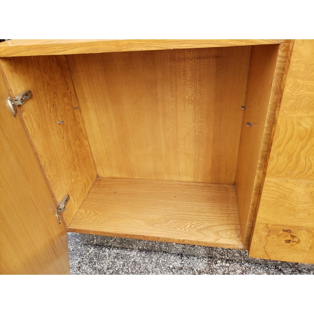 Chrome 1970s Milo Baughman Burl and Chrome Credenza For Sale - Image 8 of 12