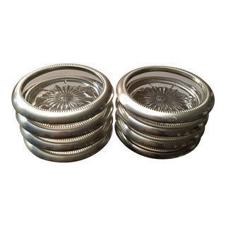 Mid-Century Modern Vintage Leonard Silver Plate Rim Cut Glass Coasters - Set of 8