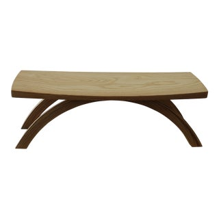 Asian Modern Handmade Cherrywood Meditation Stool
