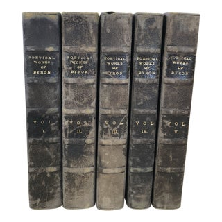 Antique Poetical Works of Byron Books - 5 Volumes For Sale