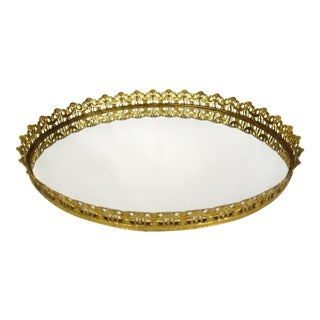 Vintage Filigree Brass Oval Mirror Vanity Tray For Sale