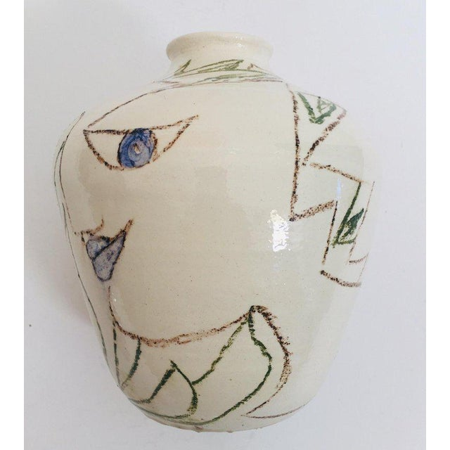 Jean Cocteau Postmodern Vase With Abstract Head Portraits Figures in Jean Cocteau Style For Sale - Image 4 of 11
