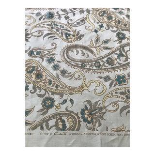 Cowtan & Tout Shiraz Aqua Blue Paisley Linen Fabric For Sale