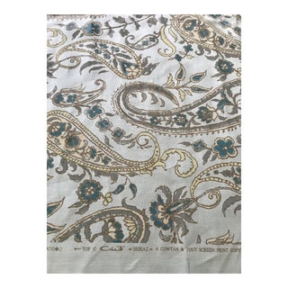 "Schumacher ""Sinhala"" Linen Print Sky Fabric 3 Yards For Sale"