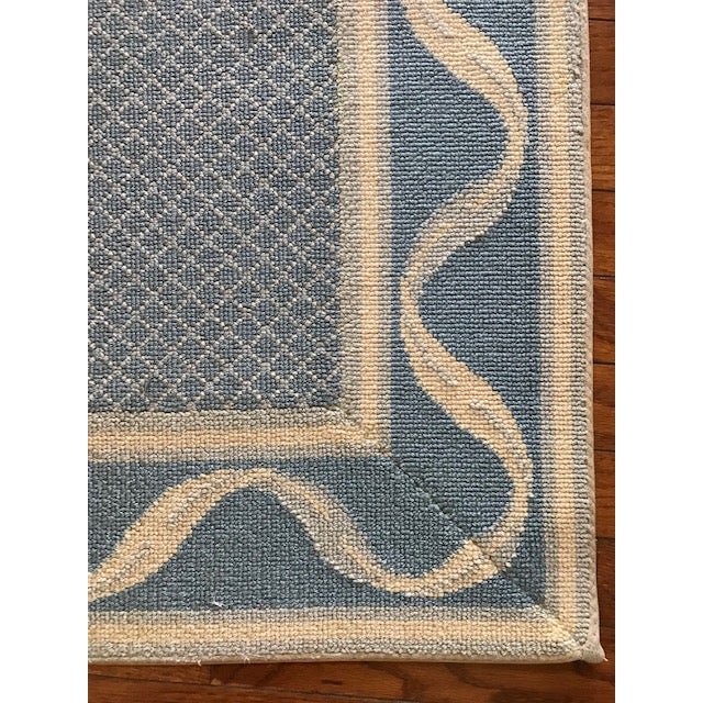 """French Country Stark Carpet Bordered Rug Blues/Cream 3'9"""" x 3"""" For Sale - Image 3 of 4"""