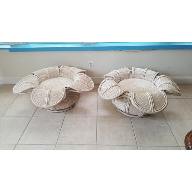 1970s Hollywood Regency Rattan Pencil Reed Bell Flower Coffee Tables - a Pair For Sale - Image 11 of 11