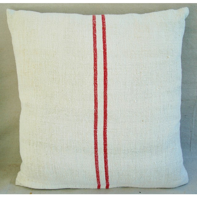 French Grain Sack Down & Feather Pillows - Pair - Image 4 of 9