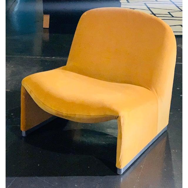 "1970s Giancarlo Piretti ""Alky"" Chair in Goldenrod Velvet For Sale - Image 12 of 12"