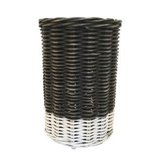 Vintage Black and White Basket For Sale