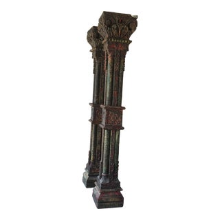 Antique Hand Carved and Painted Wood Columns From an Indian Estate Building For Sale