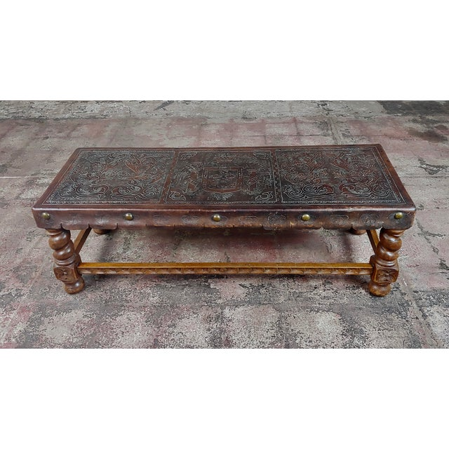 Mediterranean Antique Spanish Colonial Bench-Beautiful Carved Wood & Embossed Leather For Sale - Image 3 of 10