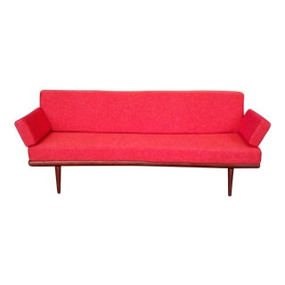 1960s Danish Modern Peter Hvide & Orla Molgaard-Neilsen Red Upholstered Sofa For Sale