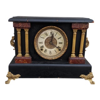 20th Century Neo Classical Art Deco Sessions Wood Pillar Mantel Clock For Sale