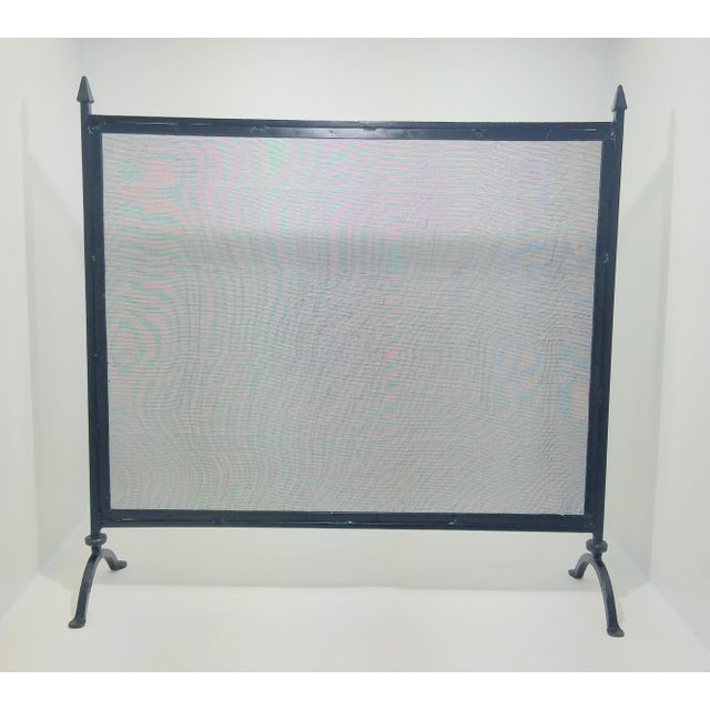 Early 20th Century Antique Farmhouse Style Wrought Iron Fireplace Screen For Sale - Image 5 of 8