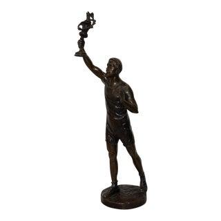 Julius Schmidt-Felling Olympic Torch Bearer Bronze Sculpture on Marble Base C.1910 For Sale