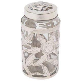 Mexican Sterling Silver Overlay Glass Vesssel/ Container Jar For Sale