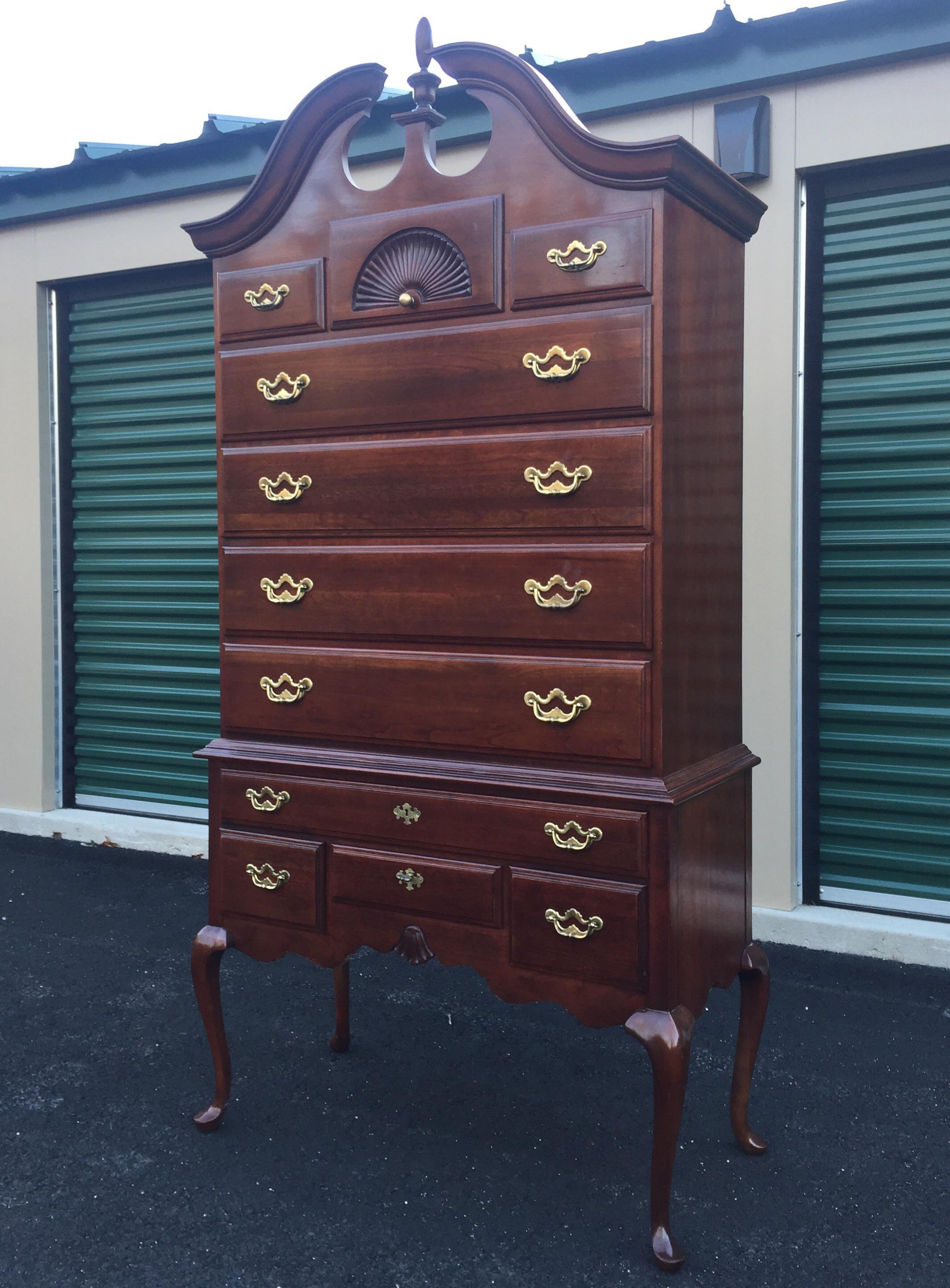 Thomasville Cherry Queen Anne Highboy Dresser | Chairish