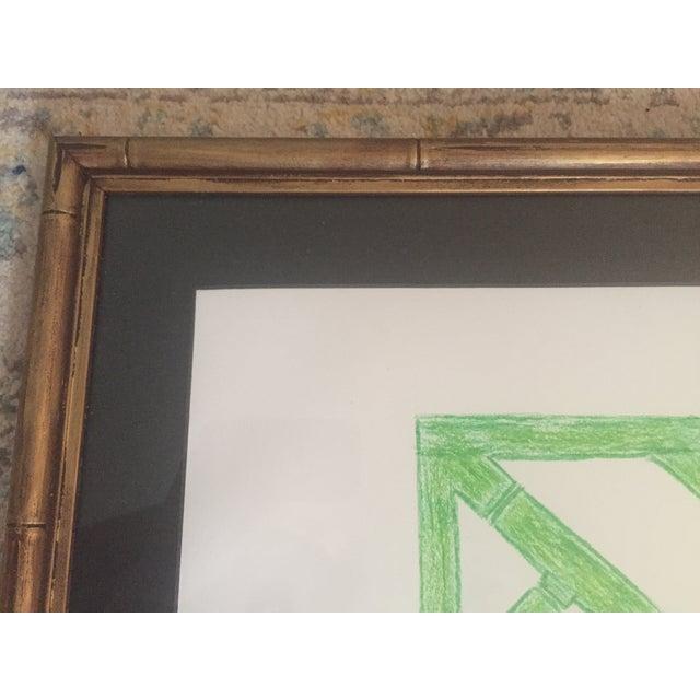 Green Palm Beach Regency Faux Bamboo Framed Trellis Art For Sale - Image 8 of 10