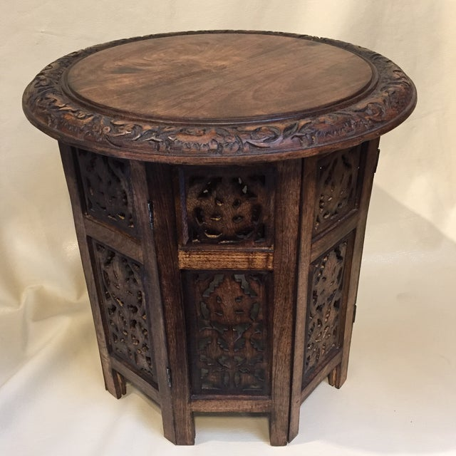 Teak Carved Round Table For Sale In Sacramento - Image 6 of 8