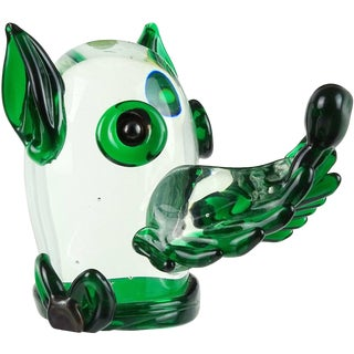 Fratelli Toso Murano Vintage Green Italian Art Glass Puppy Dog Paperweight Figure For Sale