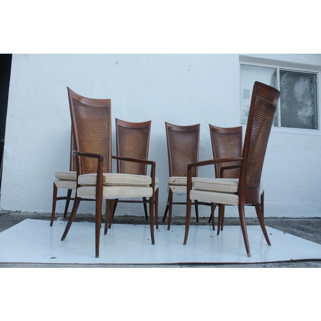 Vintage mid- century modern Robsjohn Gibbins Style Solid teak and cane dining chairs set of - 6. Chairs feature ,...