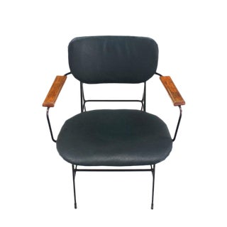 Rare Design Bent Wire Frame Wood Arm Mid-Century Modern Dining Side Chair For Sale