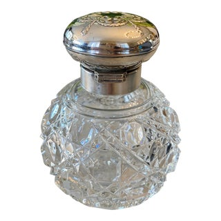 Hallmarked Sterling Silver and Cut Glass Perfume Bottle With Stopper For Sale