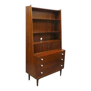 Kipp Stewart Drexel Declaration Mid Century Modern Walnut Slide Out Secretary Desk Vanity Chest Bookcase For Sale