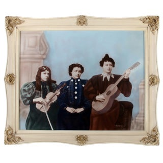Antique Ladies' String Band Hand-Colored Photograph For Sale