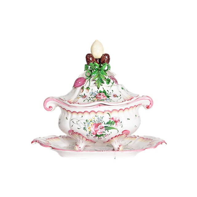 A Large French Faience Tureen With Platter For Sale