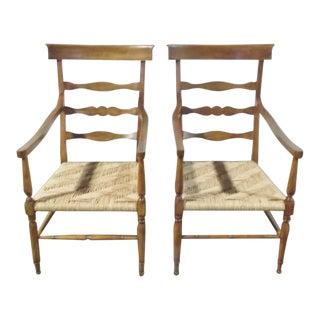 Rose Tarlow High Back Walnut Ladder Back Lounge Chairs - A Pair
