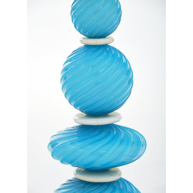 Murano Glass Turquoise Lamps For Sale In Austin - Image 6 of 10