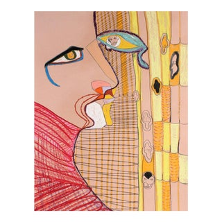 Michael DI Cosola Surrealist Portrait in Yellow Oil Pastel Painting on Paper, Circa 1970s For Sale