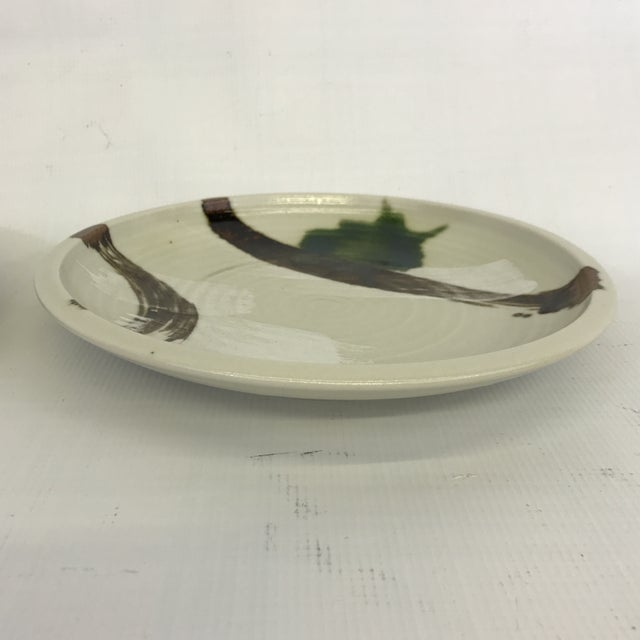 Mid 20th Century Painted Art Pottery Plates - a Pair For Sale - Image 5 of 7