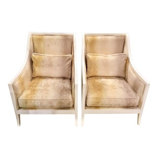 Currey & Co. White Carved Wood and Taupe Velvet Kelmarsh Chairs - a Pair For Sale