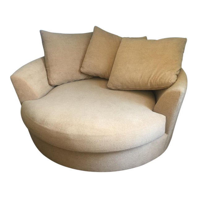 Large Circular Beige Lounge Chair & 3 Pillows - Image 1 of 5