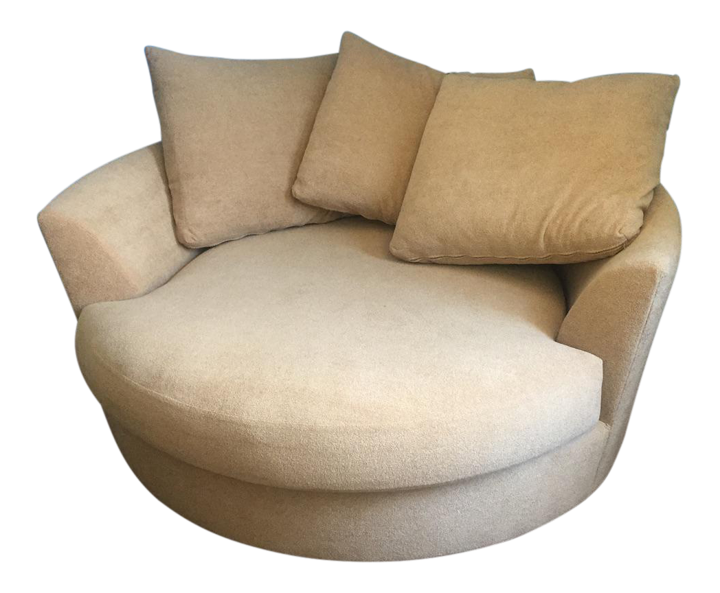 Large Circular Beige Lounge Chair U0026 3 Pillows