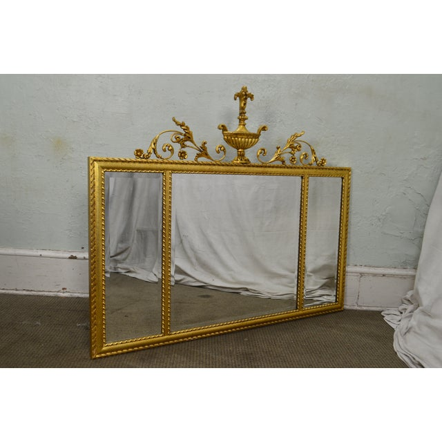 Labarge La Barge Neo-Classical Style Gilt 3 Section Beveled Mirror With Urn For Sale - Image 4 of 12