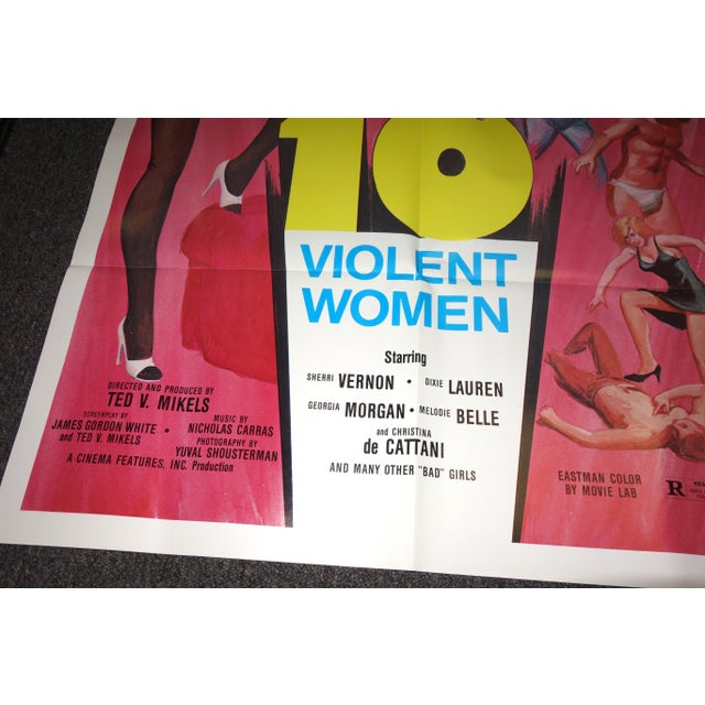"""Vintage Movie Poster, Cult 'B' Movie """"10 Violent Women"""""""" Circa 1982. New. Rare. Wonderful Extra Campy Piece. No Others Like This One. For Sale - Image 4 of 9"""