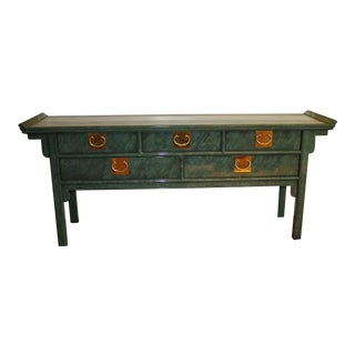 20th Century Chinoiserie Chin Hua Faux Malachite Green Tortoiseshell Pagoda Console Server For Sale